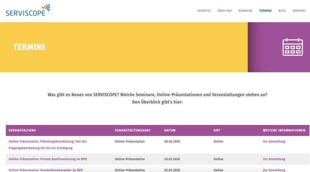 Uebersicht Webinare bei SERVISCOPE